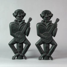 Rare Pair of Banjo Player Andirons