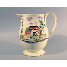 Creamware large jug with farm subject, circa 1785